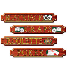 4 pc Las Vegas CASINO - Black Jack POKER Craps Cardboard Cutout Party Decoration