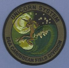 DEA CARIBBEAN FIELD DIVISION POLICE PATCH UNICORN TACTICAL GREEN