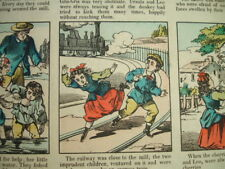 Old 1880 the IMPRUDENT CHILDREN w DOLL DIE Pellerin comic RR TRAIN bee sting bed
