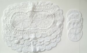 8 Piece Set Crochet 4 placemats  and 4 coasters 100% Cotton in White