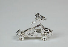 Sterling Silver Sprint Car w/ Wings Charm Lobster Claw Clasp Free U.S. Shipping