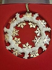 Lenox White Reindeer Wreath with Gold Snowflakes Christmas Ornament