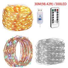 30M/300LED USB Solar String Lights Waterproof Copper Wire Fairy Outdoor Garden
