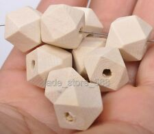 20PCS  nature Wood bead Polygonal polyhedral Spacer charms loose Beads 15mm