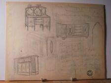 ART DÉCO 1930 Rare Dessin Mobilier Architecture de Jean Fressinet Signé Cachet 6