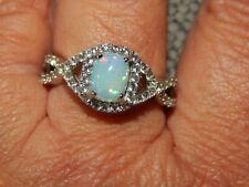 ETHIOPIAN WELO OPAL & NATURAL WHITE CAMBODIAN ZIRCON RING-SIZE R-2.250CT