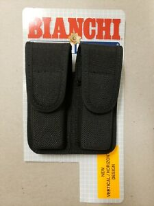 NEW Bianchi Accumold 7302 Black Double Magazine Pouch Size 2- Black Hidden- NEW