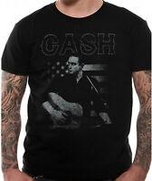 Official Johnny Cash T Shirt Guitar American Mens Black Outlaw Music Nashville