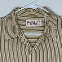 Levi's Mens Designer Shirt LS Tan Striped Large