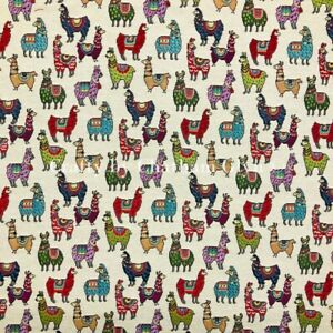 New World Tapestry Fabric Luxury Weight Cotton Rich Fabric 1.4m wide Llamas