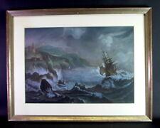 antikes Gemälde - Pastell - Segelschiff und Schiffbrüchige in stürmmischer See