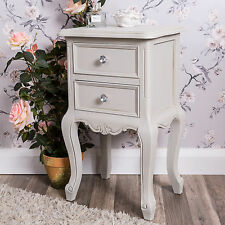 Grey Bedside Table Chest Shabby Vintage Chic French Bedroom Furniture Ornate