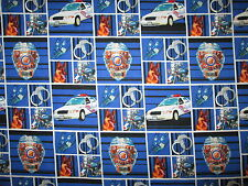 POLICE CARS MOTOCYCLES BADGES HANDCUFFS CANINE UNITS BLUE COTTON FABRIC FQ