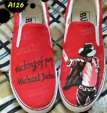 Michael Jackson Shoe hand painted Fashion canvas shoes men women Red color