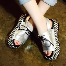Womens Casual Creepers Buckle Slingback Sandals Platform Summer Lace Up Shoes Sz