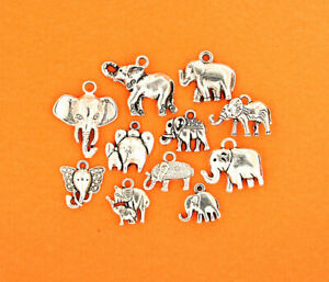 Elephant Charm Collection Antique Silver Tone 11 Charms - COL127