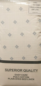 KING SIZE FITTED SHEET WHITE PRINTED DIAMONDS DESIGN EASYCARE POLY COTTON FABRIC