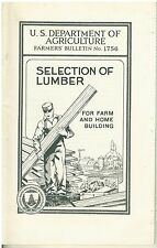 1936 Booklet Selection of Lumber for Farm and Home Building USDA
