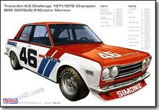 """BRE Datsun 510s with Race Stats Print (19""""x13"""") sold by Peter Brock BRE"""