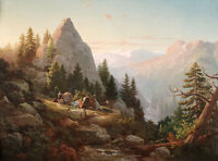 Art oil painting nice landscape Hill, Thomas-Sugar Loaf Peak, El Dorado County