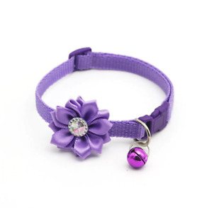 Rhinestone Flower Adjustable Kitten Collar Bell Cat Pet Puppy Snap Buckle Purple