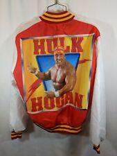 WWF Wrestling Hulk Hogan Fanimation Stadium Bomber Jacket Red WHT Large vtg 90