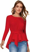 Romwe Women's Raw Hem Long Sleeve Belted Flare Peplum Blouse, Red*, Size X-Small