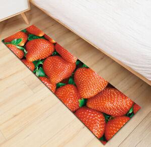 Fresh Fruit Strawberry Kitchen Mat Non-Slip Soft Carpet Bedroom Floor Area Rugs