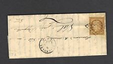 CERES N°1  10 cts bistre,grille,cachet cire, LETTRE COVER 1849 courrier