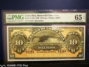 Costa Rica, Banco de Costa Rica 10 Pesos 1899  PMG65 EPQ (Very appealing)