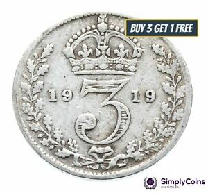 1911 TO 1919 GEORGE V STERLING SILVER THREEPENCE WORLD WAR I - CHOOSE YEAR/DATE