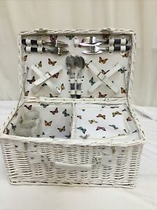 White Wicker Picnic Hamper Basket with Built In Cool Bag Glasses Cutlery