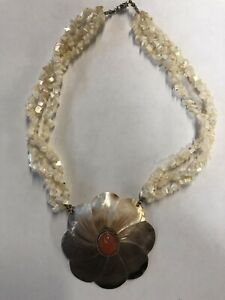 Mother Of Pearl Flower Pendant With Center Carnelian Stone Necklace #593