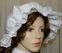 Ladies Victorian Medieval American civil warmop cap 100% cotton