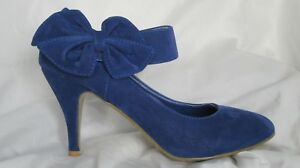 Ladies Blue Ankle Strap Bow Side Faux suede 3.5 inch heel shoes