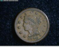 1848  Braided Hair Large Cent 1c old penny( 56-138 M4 )