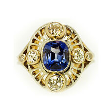 Art Deco 14k White And Yellow Gold Blue Sapphire and Diamond Engagement Ring