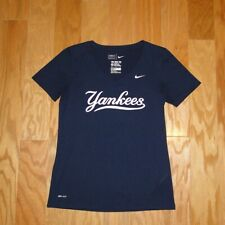 Nike Dri Fit New York Yankees V Neck Tee Shirt Size M Blue NY Women's Athletic