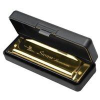 Swan Harmonica 10 Holes Key von C GOLD mit Case Blues Harp Metal Steel G9Z8 G9Z8