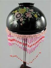 Lampen Schirm Glas schwarz D.15 Fransen rot 12cm Vintage Ästhetik