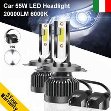 Coppia 55W H4 9003 20000LM Auto LED Fari Lampade Lampadine Kit Xeno Bianco 6000K