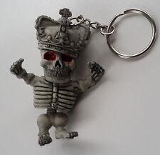 Rubber Keychain Keyring Skeleton King Skull Harley Goth