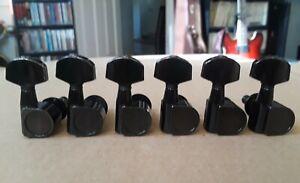 Vintage KRAMER Logo 2 Pin Black 6-in-line Guitar Tuners