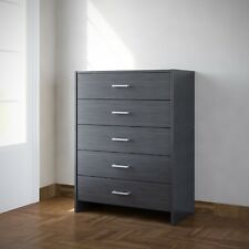 Chest of Drawers Black Bedroom Furniture 5 Drawer Silver Handles Metal Runners