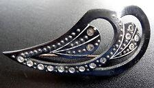 Rhinestone claro Art Deco Vintage Negro Azabache Sombrero De Celuloide Flash Broche Pin D430