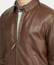 Polo Ralph Lauren Men's Lambskin Leather Jacket Small Bison Brown News Boy