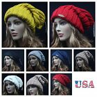 Men's Women's Knit Baggy Beanie Extra Long Thick Hat Oversize Casual Plain Ski