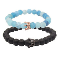 2pcs Couples Bracelets Set His & Hers King Queen Crown Beads Bracelet Lover Gift