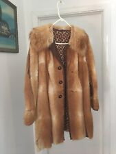 Vintage Genuine Red Fox Fur Coat w/ Leather Trim Size Large Excellent Condition