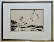 Churchill Ettinger Original Signed Etching Pitching Malards AAA Tag 1940s